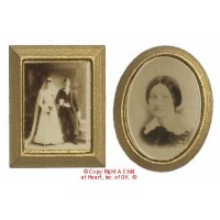 § Sale .50¢ Off - 2 Sepia Photos - Gold Frames - Product Image