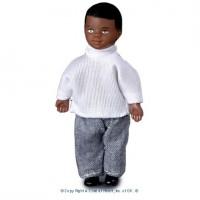 Vinyl DollHouse Doll - Modern African American Boy - Product Image