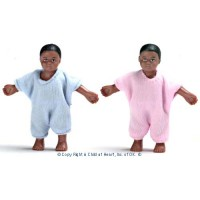 Vinyl DollHouse - African American Twin Babies - Product Image