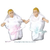 Vinyl DollHouse Dolls - Blonde Twin Babies - Product Image