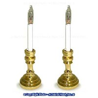 2 Square Brass Candlesticks - 12 volt - Product Image