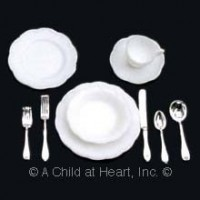 4 Dollhouse Dinnerware & Silverware Sets (Kit) - Product Image