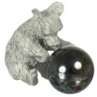 (*) Dollhouse Stone Bear w/ Gazing Ball - Product Image