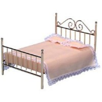 Dollhouse Double Brass Bed - Product Image