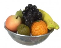 Dollhouse Silver Fruit Bowl w/ Black Grapes - Product Image