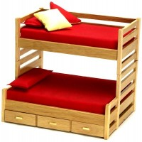 Dollhouse Trundle Bunk Bed - Oak - Product Image