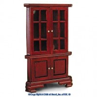 § Disc $7 Off - Dollhouse Cherry Stain Corner Cabinet - Product Image