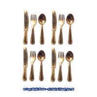 § Sale .60¢ Off - 12 pc. Gold Flatware - Product Image