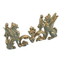 Sale $2 Off - Gold Griffins Fireplace Fender - Product Image