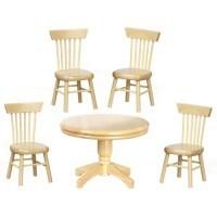 Dollhouse Oak Kitchen Table Set - Product Image