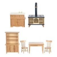 Dollhouse Oak Kitchen Set - Product Image