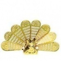 Dollhouse Victorian Peacock Fireplace Fan - Product Image