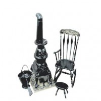 Dollhouse Pot Belly Stove and Rocker (Kit) - Product Image