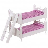 Dollhouse White Colonial Bunk Bed w/Ladder - Pink - Product Image