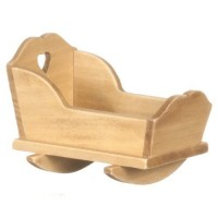 Dollhouse Cradle with Tiny Heart Cut Out - Product Image