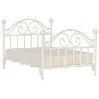 White Iron Double Bed with Mattress - Product Image