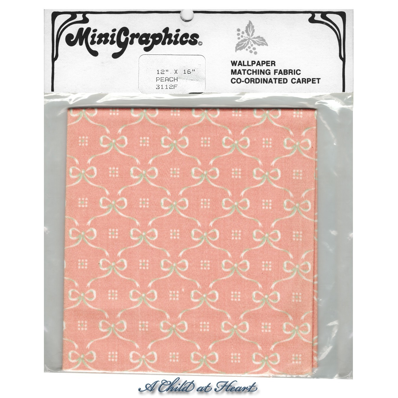 § Disc $4 Off - Peach Satin Bows Fabric - Product Image