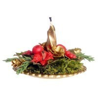 Centerpiece with Candle - Poinsettia - Product Image