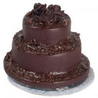 (*) Dollhouse Rose Topped Chocolate Wedding Cake - Product Image