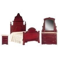 Dollhouse Mahogany Victorian Bedroom - Product Image