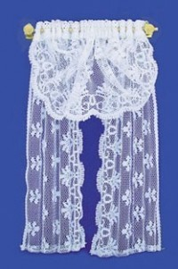 Dollhouse Lace Curtains with Shell Brackets - Product Image