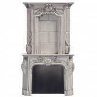 Dollhouse Tall Victorian Marble Fireplace - Product Image