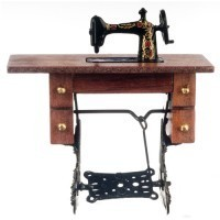 Dollhouse Sewing Machine in Cabinet - Product Image
