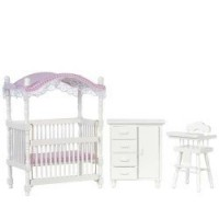 Dollhouse Canopy Nursery - White & Pink - Product Image