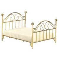 Dollhouse Double Brass Bed with Mattress - Product Image