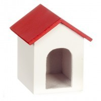 Dollhouse Wooden Doghouse - Red Roof - Product Image