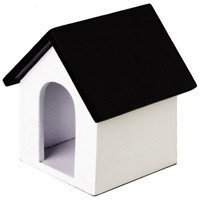Dollhouse Wooden Doghouse - Black Roof - Product Image