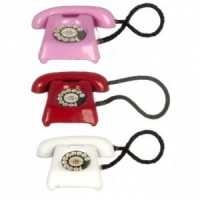 Dollhouse Pink, Red or White Rotary Phone - Product Image