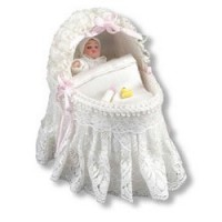 Sale $5 off - Dollhouse Lace Baby Bassinet by Reutter - Product Image