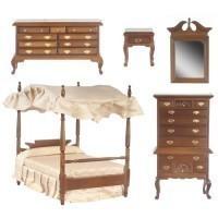 Dollhouse Canopy Bedroom Walnut - Product Image