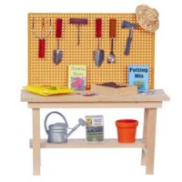 Dollhouse Potting Bench with Gardening Accessories - Product Image