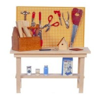 Dollhouse Workbench with Workshop Accessories - Product Image
