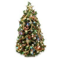 Closeout - Antique Gold Lighted Christmas Tree - Product Image