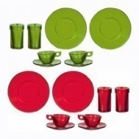 8 pc Red or Green Clear Dish Set by Chrysnbon - Product Image