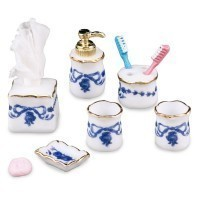 Dollhouse Blue Rose Bath Accessories - Product Image