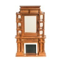 Dollhouse Walnut Victorian Fireplace - Product Image