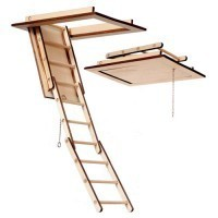 (*) Dollhouse Disappearing Attic Stairs - Product Image