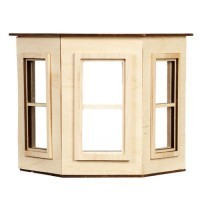 Dollhouse Flat Top Bay Window - Small - Product Image