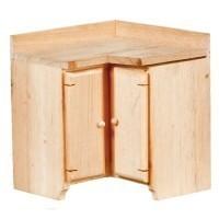 (*) Dollhouse Unfinished Corner Kitchen Cabinet - Product Image