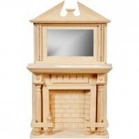 (*) Dollhouse Unfinished Mirrored Fireplace - Product Image