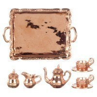 Dollhouse Copper or Silver Tea Set - Product Image