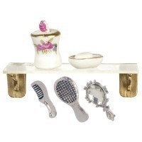 Dollhouse Plexiglass Shelf with Bath Accessories - Product Image