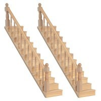 (*) 2 Straight Staircases - Unfinished - Product Image