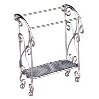 Dollhouse Empty Silver Quilt/Towel Stand - Product Image