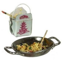 Dollhouse Filled Wok w/Togo Box - Product Image