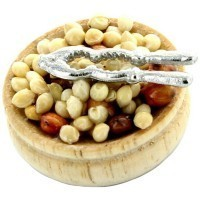 Dollhouse Filled Wooden Bowl of Nuts - Product Image